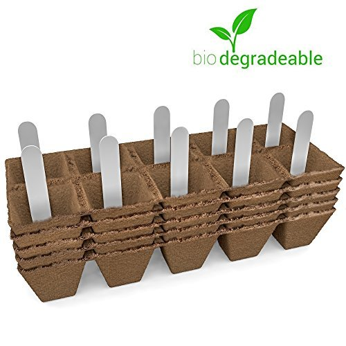 JOLLY GROW Seed Starter Peat Pots Kit Germination Seedling Trays are Biodegradable and Organic 10 Plastic Plant Markers Included | 5 Pack-50 Cells