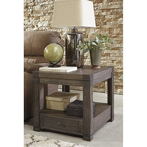 Signature Design by Ashley T846-3 Burladen Rectangular End Table, Washed Gray Brown Finish (Brown Rectangular End Table)