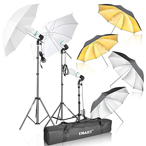 Emart Photography Umbrella Lighting Kit, 1575W 5500K Photo Video Studio Continuous Reflector Lights for Camera Portrait Shooting Daylight (Translucent/White, Black & Silver, Black & Gold) from EMART