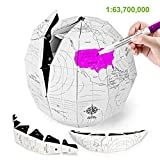 FS.Y Paper World Globe for Kids, DIY Educational Handcraft Terrestrial Globe with Clear Hanging String, Hand Made Decoration in Home and Office, Proportion of 1:63700000, Diameter of 7.87inch(20cm)