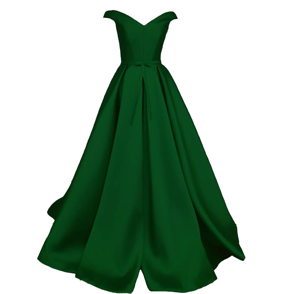 Emerald Green Kivary V Neck Off The Shoulder Satin Long A Line Formal Evening Gown Prom Dress