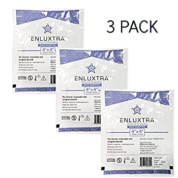 """004 """"Any Wound"""" Dressings - 4x4 Enluxtra, Pack of 3, Self-Adaptive Super Absorbent"""