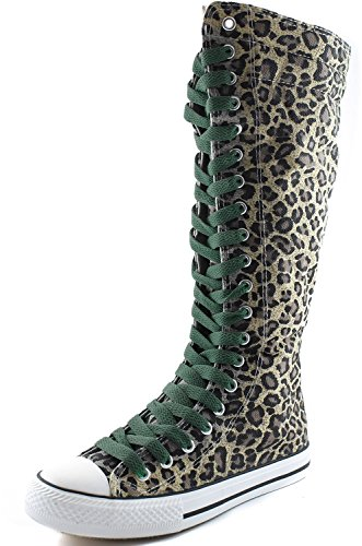Calf Lace Boots DailyShoes Leopard Mid Punk Women's Olive Sky Boots Blue Sneaker Casual Canvas Green Tall Flat qOtaxrwOH