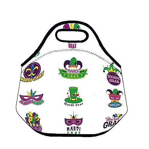 Mardi Gras Wear Resisting Neoprene Lunch Bag,Set of Carnival Masks Hats and Fleur De Lis Symbols Colorful Joyous Collection Decorative for Picnic Beach Office,Throw(11.8''L x 6.3''W x 11''H) ()