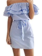 Shele Women's Casual Off Shoulder Striped Ruffles Strapless Short Dresses Mini Dresses