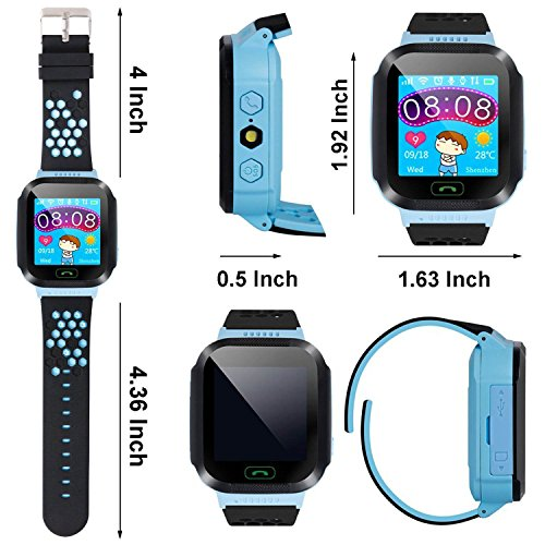 Hizek Smart Watch for Kids, GPS Tracker with SIM Calls Wireless Anti-Lost SOS Bracelet Children Girls Boys Holiday Birthday Gifts for iPhone Android Smartphone Blue by Hizek (Image #4)