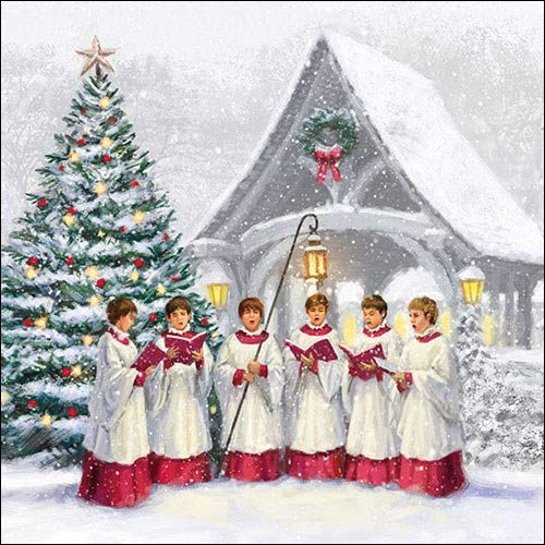 4 Paper Napkins for Decoupage , 3,ply, 33 x 33cm , Christmas , Singing  Choir (4 Individual Napkins for Craft and Napkin Art.)