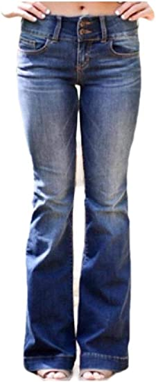 EnergyWD Womens Faded Skinny Mid Rise Washed Slim Fit Flare Jeans Trousers