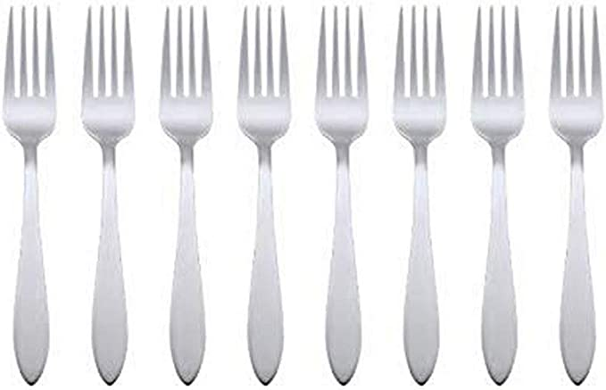 Oneida Taylor Everyday Flatware Dinner Forks Set Of 8 18 0 Stainless Steel Silverware Set 1 5 X 3 75 X 8 6 Inches Flatware Sets