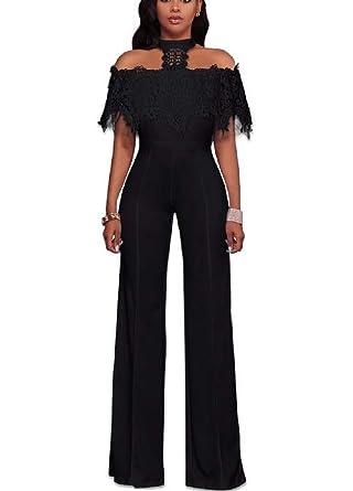 51efcb30ad0 Nanquan Women Sexy Solid Halter Wide Leg Slim Casual Lace Rompers Jumpsuit  Black US XS
