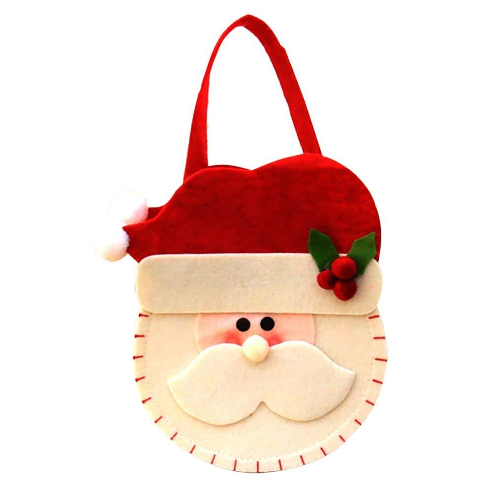 BulzEU Sac de Bonbons Noël, Sac Cadeaux Enfant Sac a Main en Tissu de Feutre Pere Noel pour Enfant, 1pack,15x18x26cm (Bonhomme de Neige)