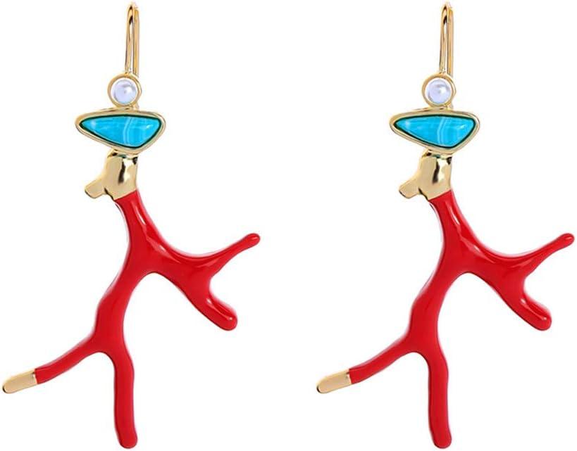 BELTI Pendientes de Gota de Resina acrílica de Rama de Cornamenta de Coral de Esmalte Rojo joyería de Moda para niña