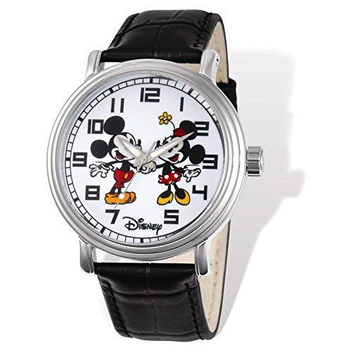 Disney Italian Charm Watch - Disney Adult Size Mickey & Minnie Black Leather Watch