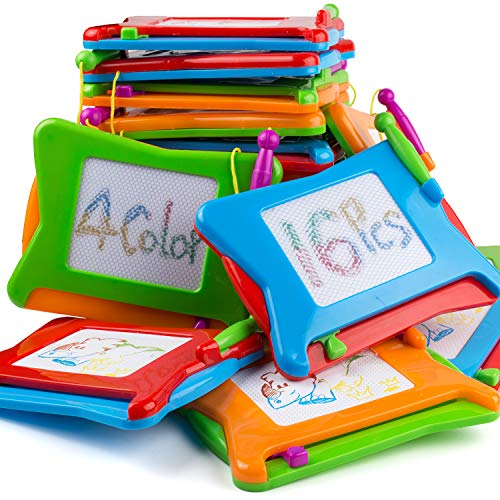 16pc Mini Magnetic Drawing Board, 4-Colors Travel Size Erasable Doodle Magna Board Toy, Small Writing Painting Sketching Pad, Educational Learning and Classroom Prizes for Toddler Boy Girl Kids Child -