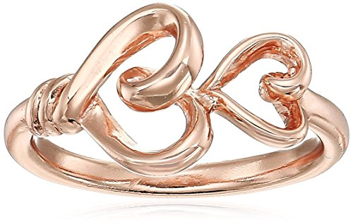 Women's Sterling Silver Rose Gold-Flashed Double Heart Ring,
