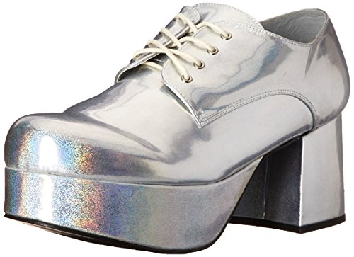 Pimp Adult Costume Shoes Silver - Large - Mens Black Pimp Shoes