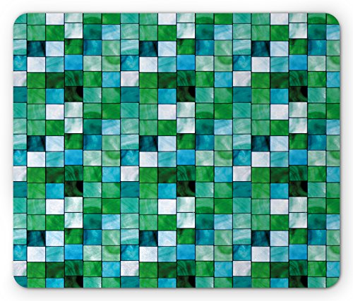 Emerald Mouse Pad by Lunarable, Geometric Mosaic Squares with Soft Aquatic Color Scheme Checkered Tile Pattern, Standard Size Rectangle Non-Slip Rubber Mousepad, Blue Sea Green