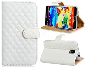 ISSEC Plaid Design Faux Leather Stand Flip Case with Magnetic Closure & Card Slots for Samsung Galaxy Note 3 N9000 N9005 (White)
