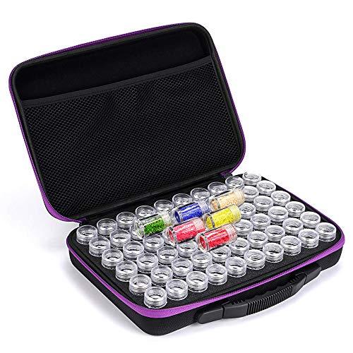 Fundaful 60 Slots Diamond Painting Storage Case Beads Organizer Diamond Painting Accessories Embroidery Box Container Jars for Art Craft EVA Shockproof Durable High Capacity (Purple)