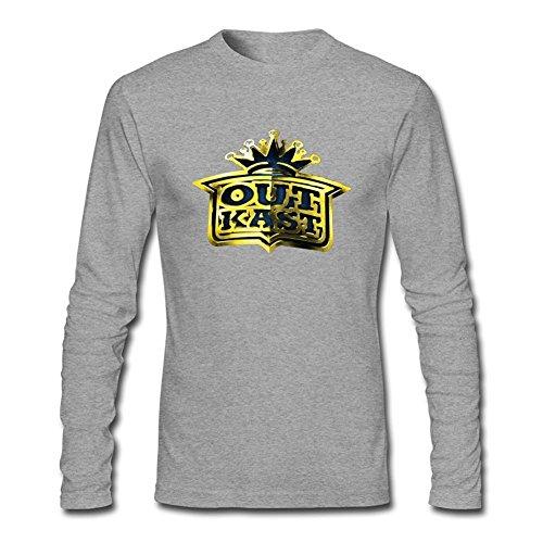 (SUNRAIN Men's Custom OutKast Crown Logo Long Sleeve T Shirt)