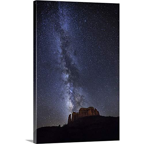 (Milky Way Over Cathedral Rocks in Sedona, Arizona Canvas Wall Art Print, 24
