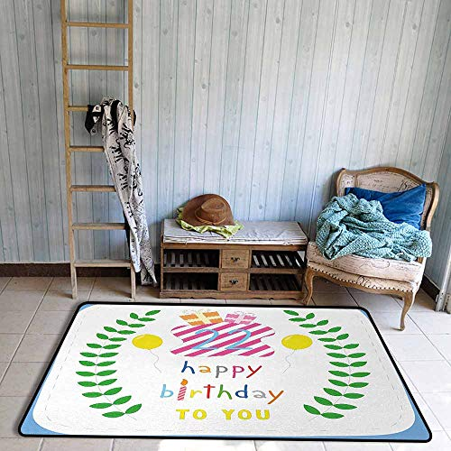 Custom Door Rugs for Home Rugs 22nd Birthday Anniversary Kids Girls Party with Leaves and Presents Balloon Party Design Durable W39 xL63 Multicolor