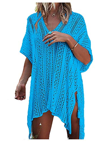 detimi Women's Summer Swimsuit Cover up Bikini Beach Bathing Suit Swimwear Lake Blue