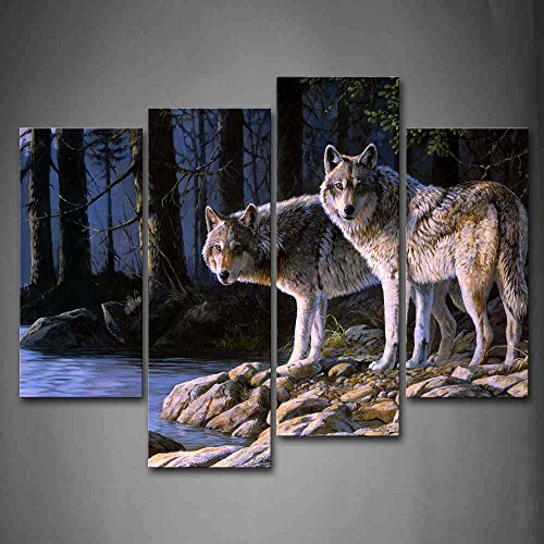 Two Wolf Stand On River Bank Forest Wall Art  Wolves