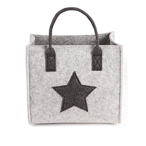 James tyle26Estrella Fieltro Bolsa de la Compra Caja de Regalo Cesta de la Compra Star Mujer Bag Fashion Asa–Bolso de Fieltro Bolsa, Gris, Größe S (30x26x19 cm)