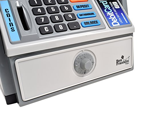 516UftXoR0L - Ben Franklin Toys Kids Talking ATM Machine Savings Bank with digital screen and electronic calculator for kids, Silver