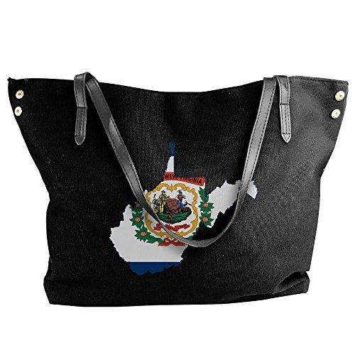 Black Women's Large Flag Canvas West Shoulder Of Hand Map Handbag Virginia Tote Bag xA7SZBwx