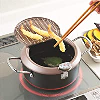 DishyKooker Household Deep Frying Pot Tempura Fryer Pan Temperature Control Cooking Tool 20cm Kitchen Utensil