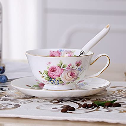d59bbe6aeec Image Unavailable. Image not available for. Colour: Chaoson Bone China  Ceramic Europe Brief British Vintage Coffee Cup and Saucer ...