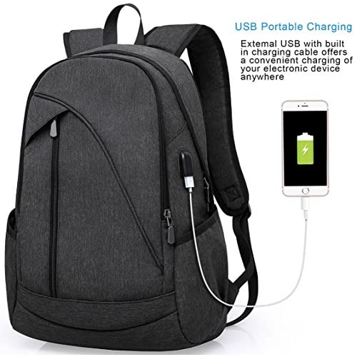 ibagbar Water Resistant Laptop Backpack with USB Charging Port Fits up to 15.6-Inch Laptop and Notebook Black