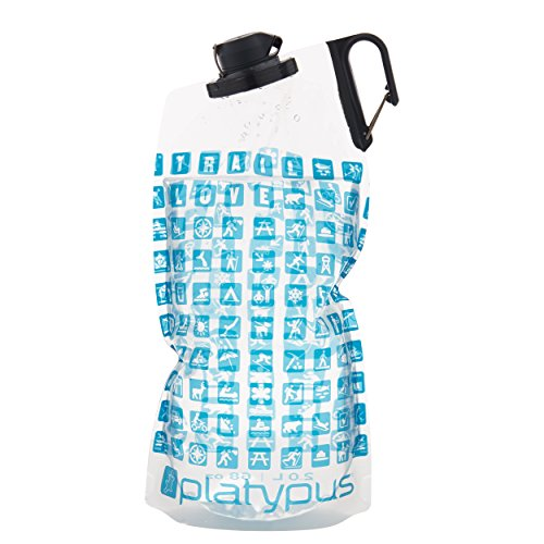 Platypus DuoLock SoftBottle Collapsible Water Bottle, Trail Love, 2.0-Liter