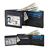 2 Window ID Holder RFID Wallet for Men, Multi Card Extra Capacity Travel Wallet, Ultimate Identity Theft, Credit Card Protection, Full Grain Leather Bifold (Black - Smooth Leather)