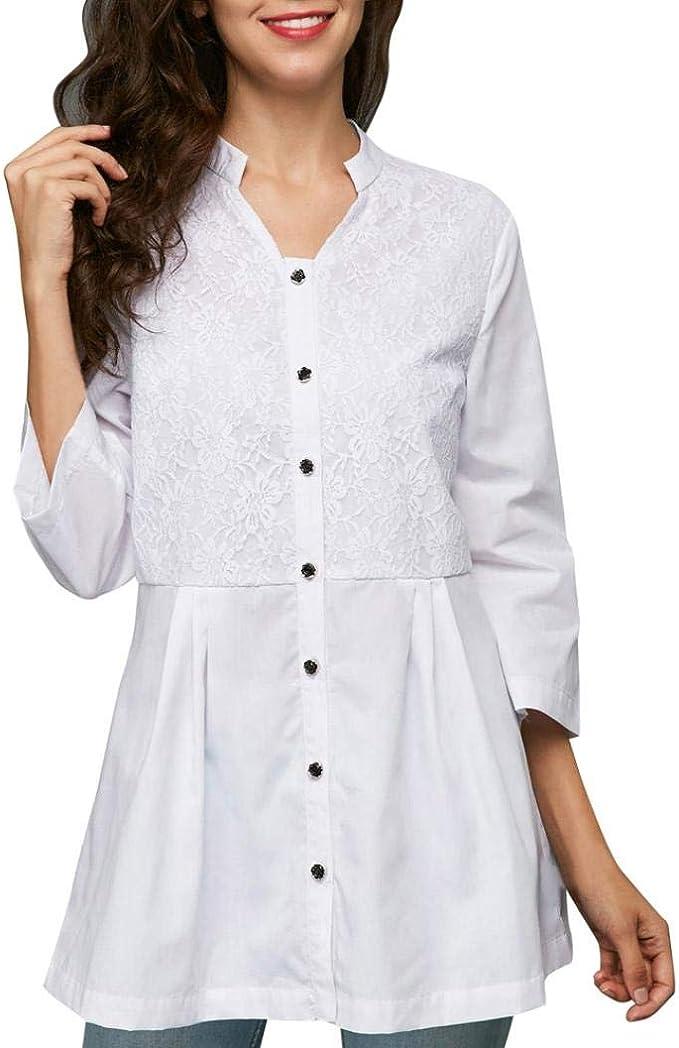 Owill Blusa de encaje de color puro, cuello en V, manga de ...