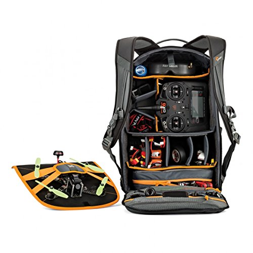 Lowepro QuadGuard BP X2- Drone Backpack for 2 FPV Quad Racing Drones w/ Interior and Exterior Mounts (Black/Grey)