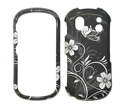 - White and Grey Flower Snap on Hard Protective Cover Case for Samsung Intensity 2 U460