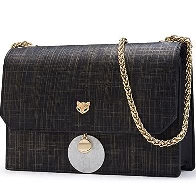 FOXER Women Leather Crossbody Bag Small Crossbody Purse Shoulder Bag Black Size: One Size