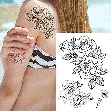4 Unidades, Tatuaje Temporal, Flor Negra, Tatuaje, Mangas ...