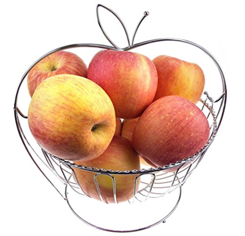(LFHT Stainless Steel Round Apple Shaped Food Fruit Basket Holder)