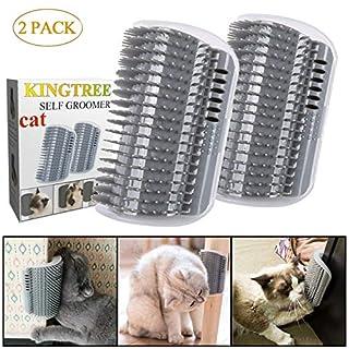Kingtree Cat Self Groomer, 2 Pack Cats Corner Groomers Soft Wall Corner Massage Combs Grooming Brush Perfect Massager Tool for Long Short Fur Kitten Puppy - Grey