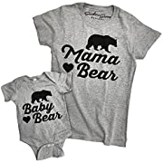 Southern Designs Matching Mama Bear and Baby Bear Tee Shirt and Baby Romper by (Shirt Small - Baby 6 Months)