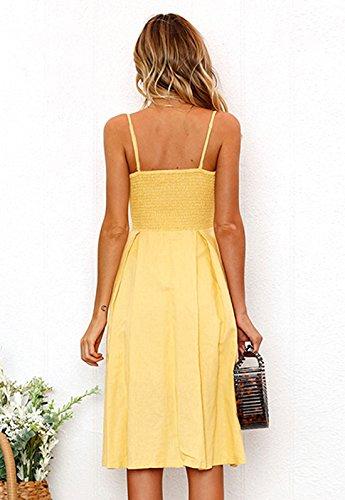 Mujer La Playa Colores Vestido Verano Partido Casual Tirantes Rodilla Backless Botón Midi Atractivo Lisos Rangeyes por Amarillo Lazo Vestidos de FndYWfqdw