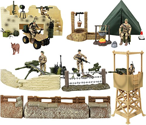 Click N' Play Military Checkpoint 60 Piece Play Set With