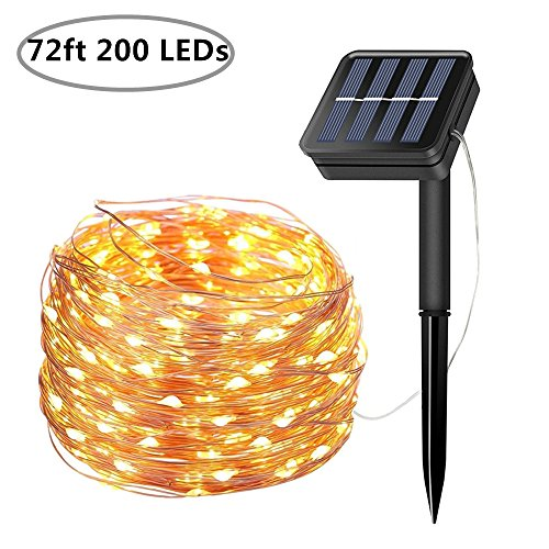 Copper Gazebo - Solar String Lights, 200 LED Solar Fairy Lights 72 feet 8 Modes Copper Wire Lights Waterproof Outdoor String Lights for Garden Patio Gate Yard Party Wedding Indoor Bedroom - Warm White