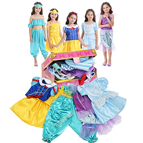 VGOFUN Girls Dress up Trunk Princess Costume Dress Pretend Play Set for Girls Toddlers (Princess Dress up Trunk-2) Blue