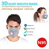 Dust Mask Respirator Disposable N95 Particulate Face Safety Masks with Exhalation Valve 5 Layer Activated Carbon Air Filter Adjustable Earloop (20 Pack)