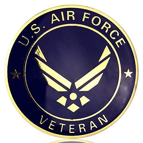 (JYG U.S. Air Force Car Emblem Military Challenge Coin Airman Veteran Metal Auto Decal)